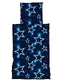 one-home 2 tlg Bettwäsche 135 x 200 cm Sterne Blau leuchtoptik
