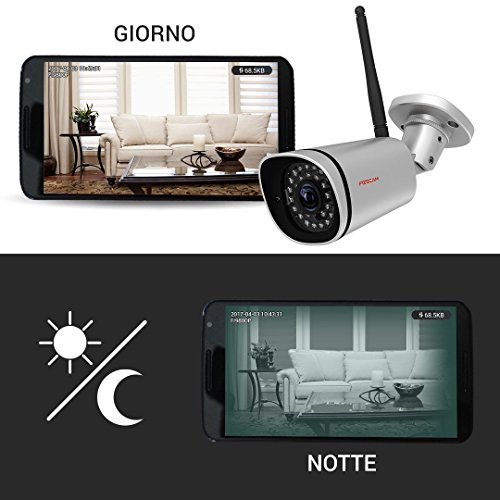 Foscam FI9800P Telecamera, HD 1.0 MP, H.264, 720p, Esterno, Visore Notturna, Rilevatore Movimenti, Alerte Mail/FTP, Compatibile iPhone e Android