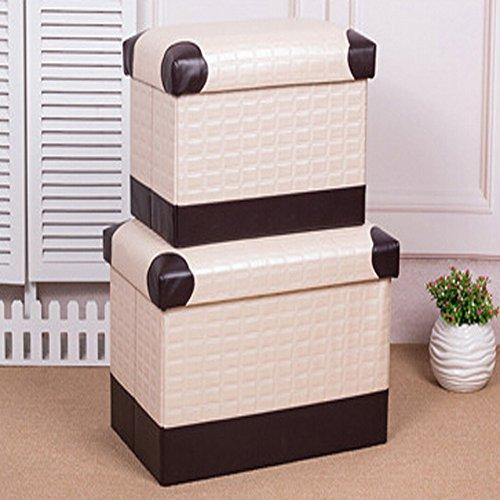 Pouf contenitore in similpelle, Poggiapiedi pieghevole Toy Box piede sgabello, Beige Stripe, 40*25*25cm