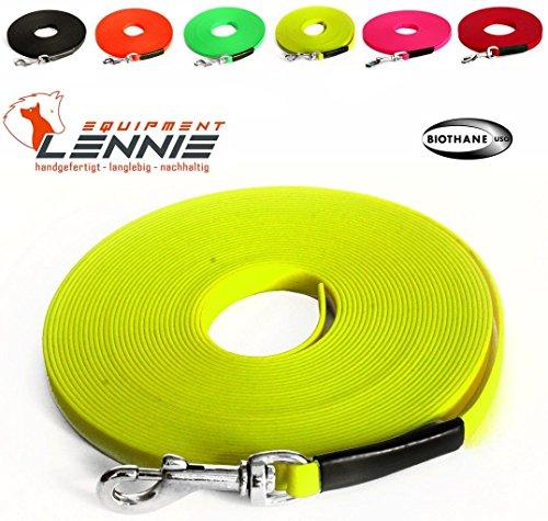 LENNIE Leichte Super Flex BioThane Schleppleine 9 mm / 1-30 Meter [1 m] / 9 Farben [Neon-Gelb] / genäht/ohne Handschlaufe