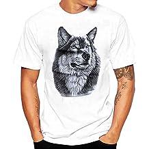 Sky Celebrate For The Summer !!!Camiseta de La Manera Impresa de Los Hombres Lobo Negro Tees Shirt Short Sleeve T Shirt Blouse M~L4