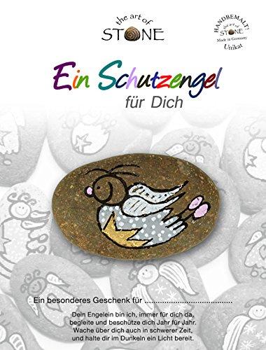 The Art of Stone - Schutzengel für Dich -Serie 1 / Motiv 10- Glücksstein mit Engel - Bemalter Naturstein + Unikat- als Dekostein, Glücksbringer oder Geschenk