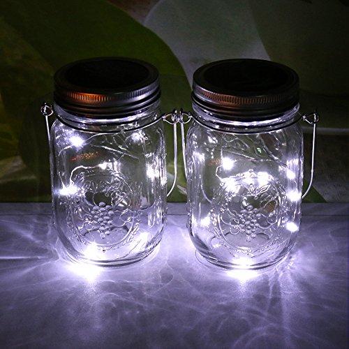 8 Light Nickel Hängen (Solar-Außenleuchten Einweckgläser- Fair Trade Solar Jar, Sun Jar(Weiß))