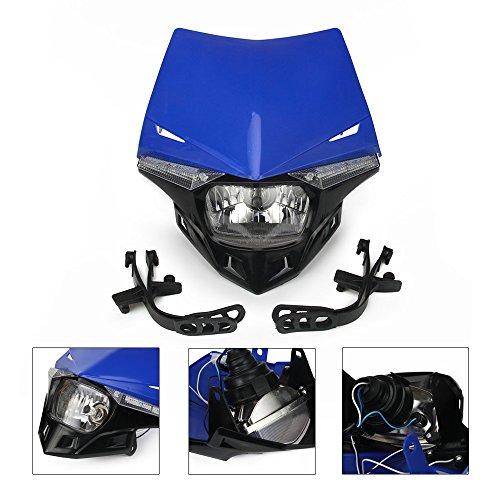 Blu universale moto fari fari Light carenatura Street Fighter Mask luce diurna LED indicatori di direzione luci per Yamaha YZ125YZ250YZ250F YZ450F WR250F WR450F motocicletta motocross Enduro