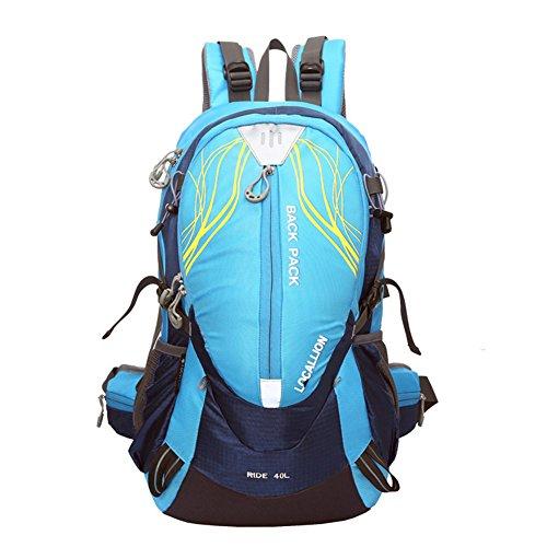 Cuckoo 40L leichter wasserdichter Camping Reisen Radfahren Wandern Rucksack mit Regen Abdeckung Laptop Abteil Hydratation Blase Pack Blau