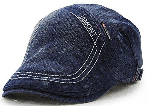 Roffatide Retro Buchstaben Bestickte Baumwoll Denim Schiebermütze für Herren und Damen Flatcaps Newsboy Cabbie Ivy Hüte Navy Blue (Duckbills Kostüme)
