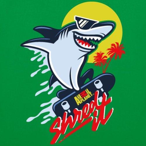 Spreadshirt Animal Planet Hai Con Skateboard Brandello Stoffbeutel Kelly Green