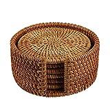 Larcele Handgefertigte runde Rattan-Untersetzer mit Halter für Tee BD-02