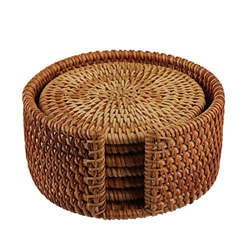 Larcele Handgefertigte runde Rattan-Untersetzer mit Halter für Tee BD-02 Rattan-halter