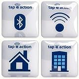 4 NFC 3D Tag Sticker etiquetas autoadhesiva | NXP NTAG203 | 32x32mm | diseño1