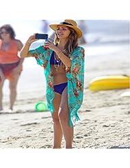qxj Sun Impresión Bikini blusa con falda borla gasa playa Wrap Cardigan Sweater Vestido de manga mitad, imagen, color