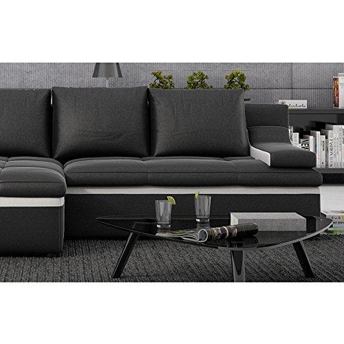 Polster-Ecke mit Schlaffunktion schwarz / weiß 235x133 cm L-Form | Nodobi-L | Sofa-Garnitur aus Kunstleder mit Recamiere links | Eck-Couch ausziehbar für Wohnzimmer schwarz / weiss 235 x 133cm - 5