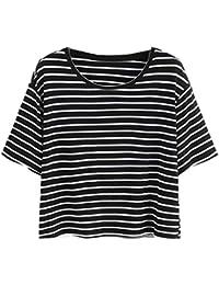 ♥ Camisas Mujer ♥ Blusa Sexy Para Mujer Camiseta de Rayas EN Blanco y Negro Tank Crop Tops Camiseta Chaleco ♡Xinantime♡