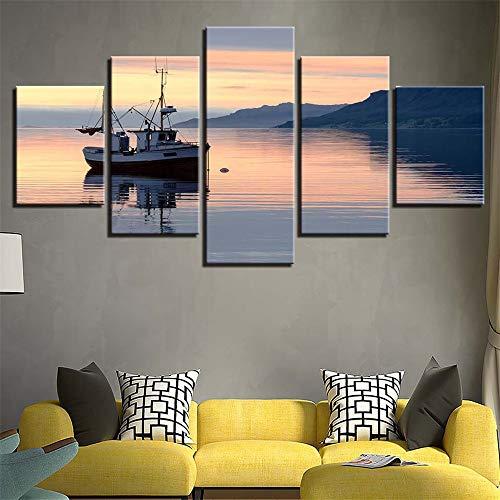 Moderne dekorative malerei Hause Sofa Wand Wohnzimmer HD Kunst Painting,Boot Meerblick 11 Malerkern 40x60cmx2 40x80cmx2 40x100cmx1