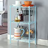 Shelf LYG Küchenwagen Standregale Küchenboden Regal Mobiles mehrschichtiges Lagerregal Multi-funktionale Küchenregal (Farbe : Blau)