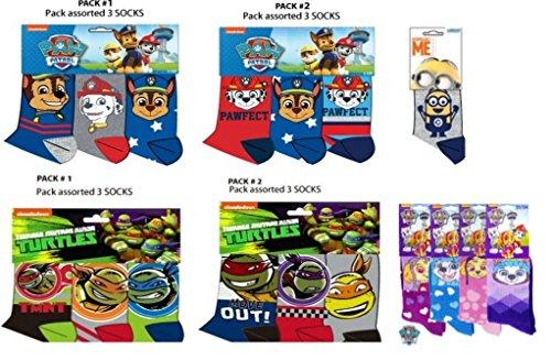 Official Boys Girls Minions Spiderman Ninja Turtle Power Rangers Paw Patrol Socks