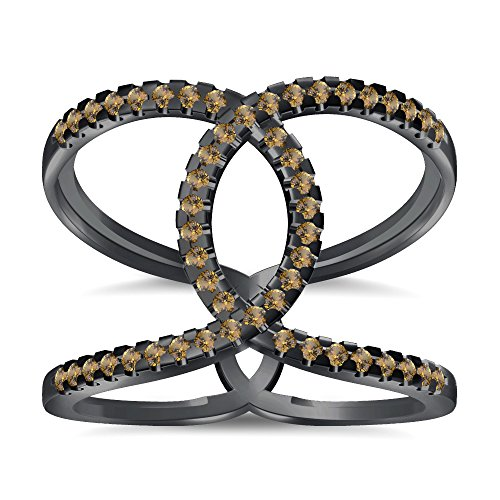 Silvernshine Halo Twist Citrin CZ Diamond Engagement Ring 14k Black Gold Plated Bridal Ring Set