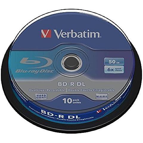 10 BD-R Verbatim de 50GB a 6x - Blu Ray Doble Capa - 10 Unidades Discos Vírgenes 50 GB Dual Layer 43746