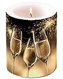 Unbekannt Kerze XXL Party mit Sektgläsern und Feuerwerk 12 cm hoch in Folie verpackt, 75 Stunden Brenndauer Silvester