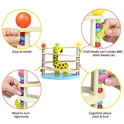 Nuheby Wooden Toys Giraffe Toy Wooden Marble Run Gift for 1 2 3 Year Old Boy Girl Toddlers Kids Educational Tower Ball Drop Ramp Track