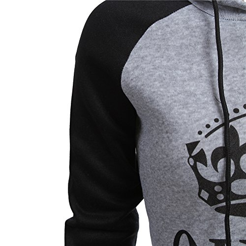 L-Peach Sweatshirt Coton à Capuche Couple KING & QUEEN Impression Automne Manches Longues Femme Homme Tops Sport Hooded Pullover Homme