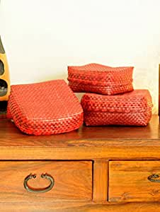 The India Craft House Palm Leaf Utility Baskets - Set of 3,Red & Brown PLUB3H
