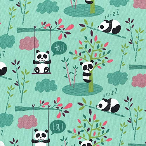 Textiles Français Tessuto Stampato I Simpatici Panda Per Bambini Nero Bianco Celadon Rosa Lampone Verde E Melanzana Sfondo Verde Menta