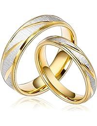 7fd99876fc96 Daesar Joyería Ancho 4mm Acero Inoxidable Anillo Ring Plata Oro Amor Love  Pareja Pedida Compromiso Alianzas