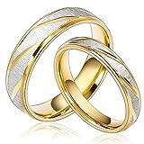 Daesar Joyería Ancho 6mm Acero Inoxidable Anillo Ring Plata Oro Amor Love Pareja Pedida Compromiso...