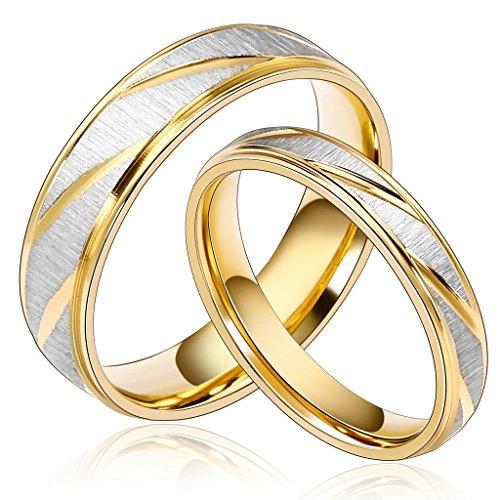 Daesar Joyería Ancho 4mm Acero Inoxidable Anillo Ring Plata Oro Amor Love Pareja Pedida Compromiso Alianzas Boda para Mujer, 1xanillo