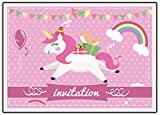 Licorne invitation anniversaire lot de 12 cartes d'invitation avec chevaux arc en ciel ballon pour un anniversaire carte enfant unicorn