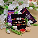 Archies Rakhi For Brother Set Of 3 Pearl Rakhi With Roli Chawal & 2 Dairy Milk -Set Of 5