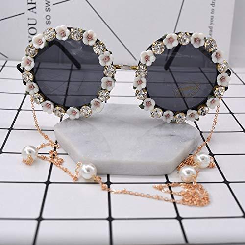 Romantische rosa Rose handgefertigte Metall Gold Blume barocke Sonnenbrille für Frauen kristall Eyewear Retro Stil quaste Kette Sonnenbrille Brille (Farbe : White)