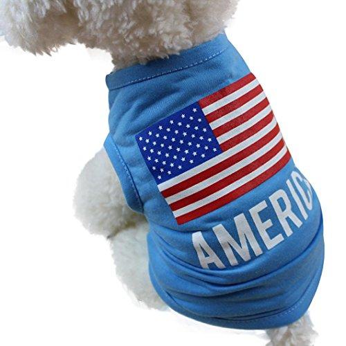 Camo Amerikanische Flagge (Hmeng Amerikanische Flagge Muster Haustier Kleidung, Nette kleine Welpen Weste Casual Hund Katze Kostüm Sommer Bekleidung (S, Blau))