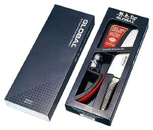 Global G-2220BR Gift Set containing Award Winning Global G-2 Cooks Knife & Minosharp Sharpener