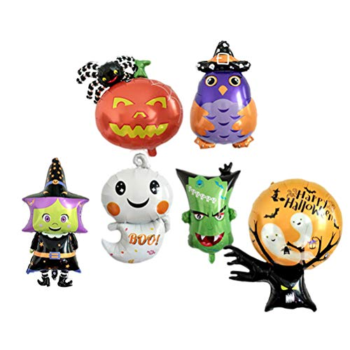 LIOOBO 6 Stücke Halloween Aluminiumfolie Luftballons Kürbis Spinne Drucke Dekoration Luftballons für Ghost Festival Party Supplies (Ghost/Geek Kopf/Ghost Tree/Hexe/Kürbis Spinne/Eule)