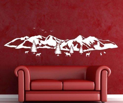 Wandtattoo Montagna Skyline Neve Vacanza Alpi Alce Adesivo Paesaggio 1M 217 - Grigio Scuro Opaco, 100 cm