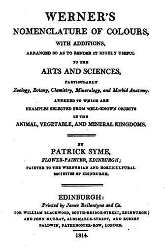 Werner's Nomenclature of Colours: With additions, arranged so as to render it highly useful to the arts and sciences, particularly zoology, botany, chemistry, mineralogy and morbid anatomy
