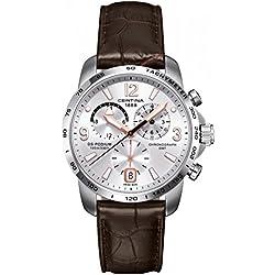 Certina C001.639.16.037.01 - Reloj para hombres, correa de cuero color marrón