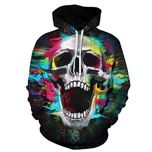 SamMoSon Unisex 3D Blood Druck Hoodies Kapuzenpullover Langarm Bunte Pullover Kapuzenpulli Sweatshirt Kapuzenjacke Halloween-All-Souls-Day-Frauen-Männer-Couple-Punk (S/M, Skelett 3D)