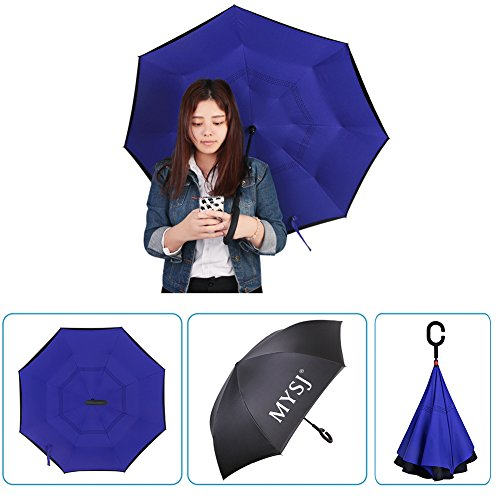 "Innovativo Reverse Umbrella, Double Layer invertito Ombrello, Mysj creativi Auto Reverse ombrello diritto impermeabile ed auto Standing Inside Out compatto da viaggio ombrello con manico ""C"" (Blu reale)"