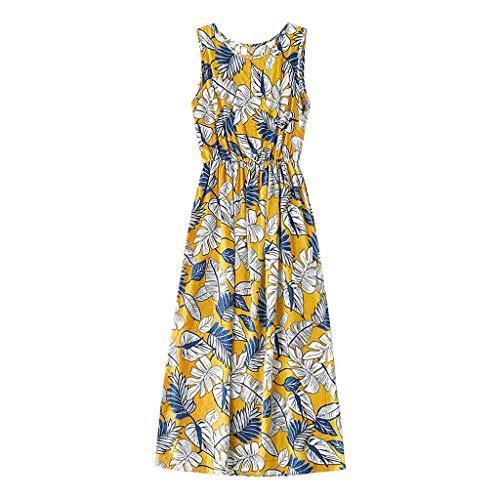 squarex Mommy & Me Summer Women's O-Neck ärmelloses Kleid Blatt Blumendruck Familie Kleidung Eltern-Kind-Kleidung
