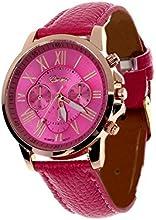 WINWINTOM Ginebra números romanos de imitación reloj de cuero Rosa caliente