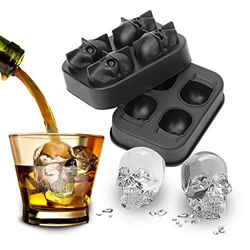 XIAODIANER 3D BPA Frei Schädel Eiswürfelform Mit Deckel, Lebensmittel Silikon EIS Würfel Schokolade Bourbon Whiskey,Süßigkeiten Schimmel Trays,für die perfekten Eiswürfel+ Trichter (Schwarz)