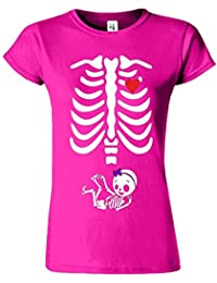 "SNS Online Heliconia - S - Ajuster: EU 38"" - Adorable Skeleton Heart Dames T Top T-Shirt"