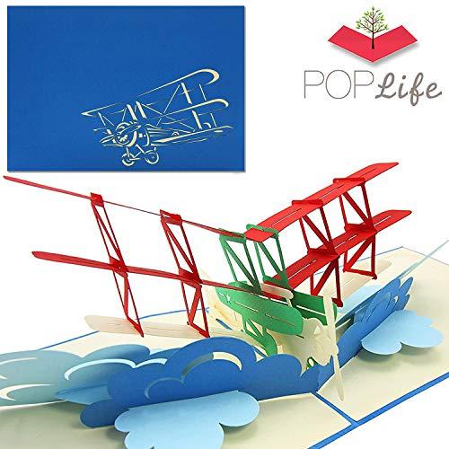 PopLife Cards Tarjeta emergente día de padres biplano para todas las ocasiones día del padre, feliz cumpleaños, graduación, jubilación, aniversario de trabajo, felicitaciones, pilotos de avión, viaje