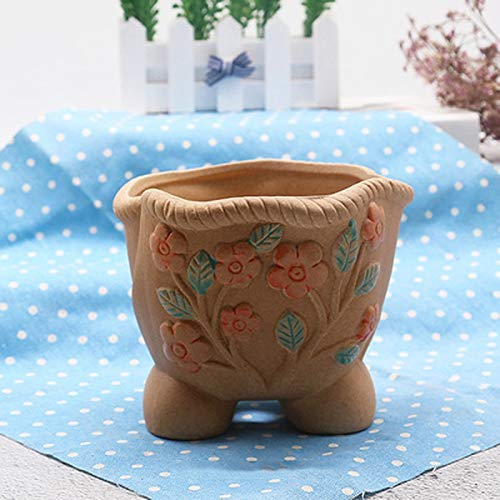 Woyqs-dekorative Skulptur Terrakotta-Keramik Pflanze Blume Herb Bell Pflanzgefäß Topf Box Container Skulptur -