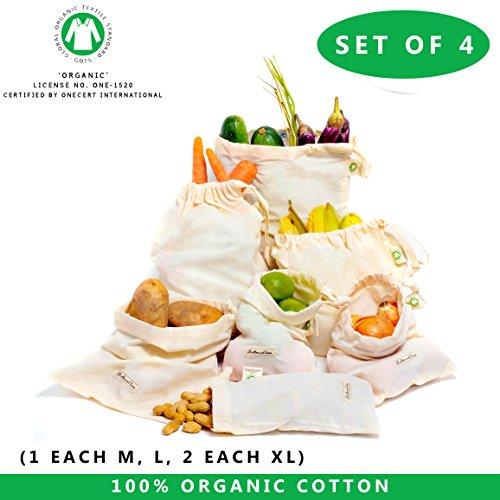 """Biobaumwoll Musselin Taschen von All Cotton und Leinen - Zero Waste Home Set von 4 (8'x10 ', 12'x10', 12 """"x15"""" - 2 Stück)) - Baumwolle Drawstring Taschen - BESTE WIEDERVERWENDBARE PRODUKTTASCHEN 4er Set"""