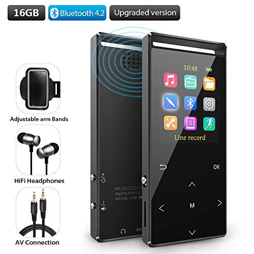 MP3 Player 16GB mit Bluetooth 4.2 unterstützen TWS Bluetooth Kopfhörer, Lautsprecher HiFi-Musik FM-Radio Schrittzähler Armband,unterstützung Zufallswiedergabe Equalizer.Metallgehäuse und Geschenkbox