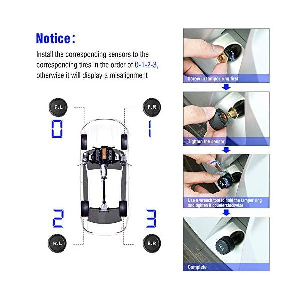 TPMS Sistema de Monitoreo de Presión de Neumáticos de Coche Alarma Inalámbrico, Medidor con LED Pantalla, Monitor de…
